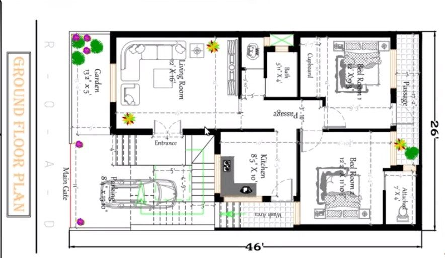 26×46 Fts South Facing House Design Plan in India
