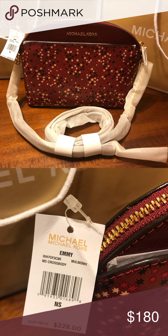 57fff7df5301 🛍Michael Kors Emmy 🛍 MICHAEL KORS EMMY MINI STARS GLAZED SAFFIANO LEATHER  MEDIUM CROSSBODY BAG Color: Mulberry (multi) ,with pink, black, fuchsia  Mini ...
