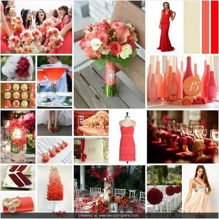 Red And Coral Or Burgundy And Coral Color Ideas Coral Wedding Colors Bridesmaid Colors Vintage Wedding Theme