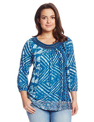 Lucky Brand Women's Plus-Size Crochet Trim Top