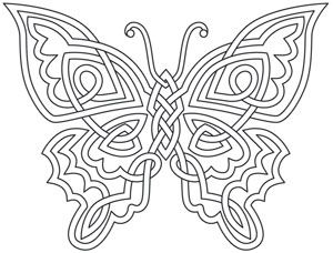 Soft lines of this celtic knot inspired design come together sweetly in this butterfly. Downloads as a PDF. Use pattern transfer