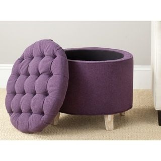 Nice Safavieh Amelia Plum Polyester Tufted Storage Ottoman (HUD8220T), Purple,  Size Small (Fabric)