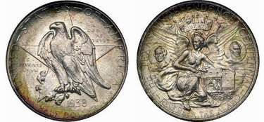 This commemorative coin celebrated the 100th anniversary of Texas Independence. Minted between 1934 and 1938, the obverse features a Lone Star behind the eagle. The reverse depicts a winged Liberty cradling the Alamo, birthplace of Texas. Flanking Liberty are portraits of Sam Houston and Stephen F. Austin