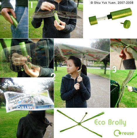 f0f0511bd Shiu Yuk Yuen simple- Eco-Brolly-newspaper compact portable umbrella fits  in a small tube- very cool!