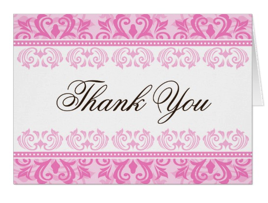 Pink Lace Floral Damask Elegant Thank You Zazzle Com Custom Thank You Cards Floral Damask Thank You Cards