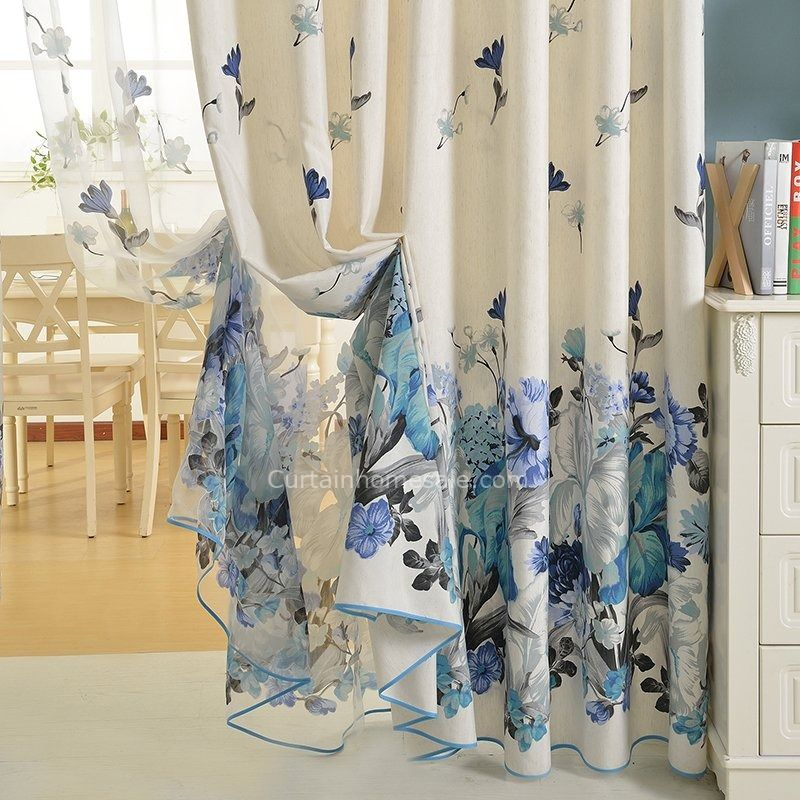 Cotton Blue Floral Curtains Bedroom Curtains is part of Rustic bedroom Curtains - Room darkening curtains are made of blend fabric contains cotton and polyester contents  Beauty the room with these floral curtains to complete an unique pastoral look for bedroom or living room