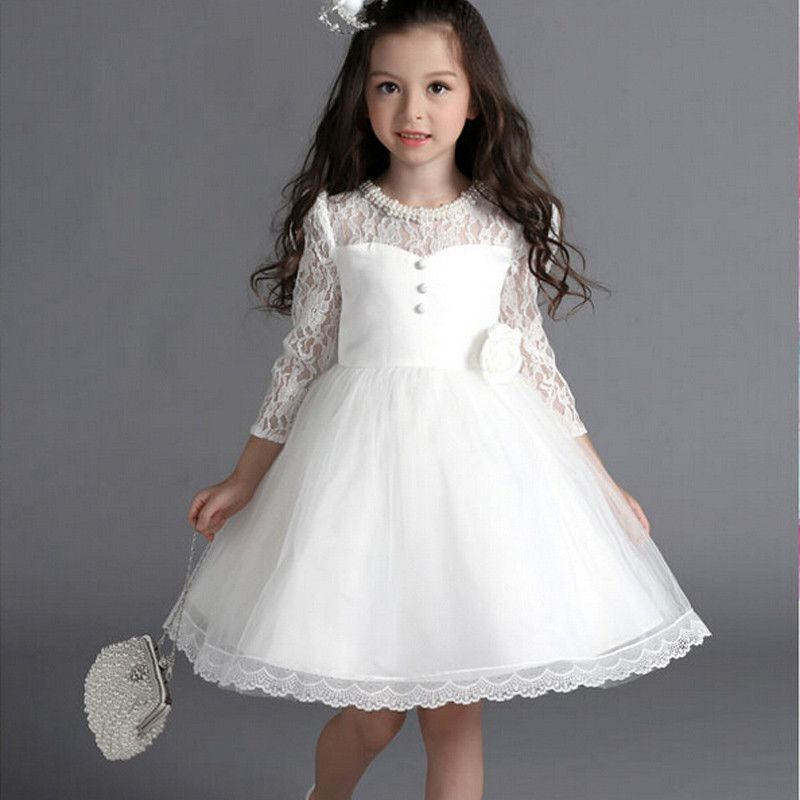2016 New Flower Girl Dresses With Bow Sleeve Wedding Party Communion Princess Pageant Dress For Little