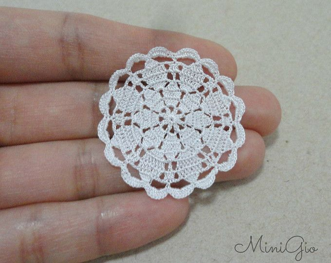 Miniature crochet square doily 1.2 inches, dollhouse crochet ...