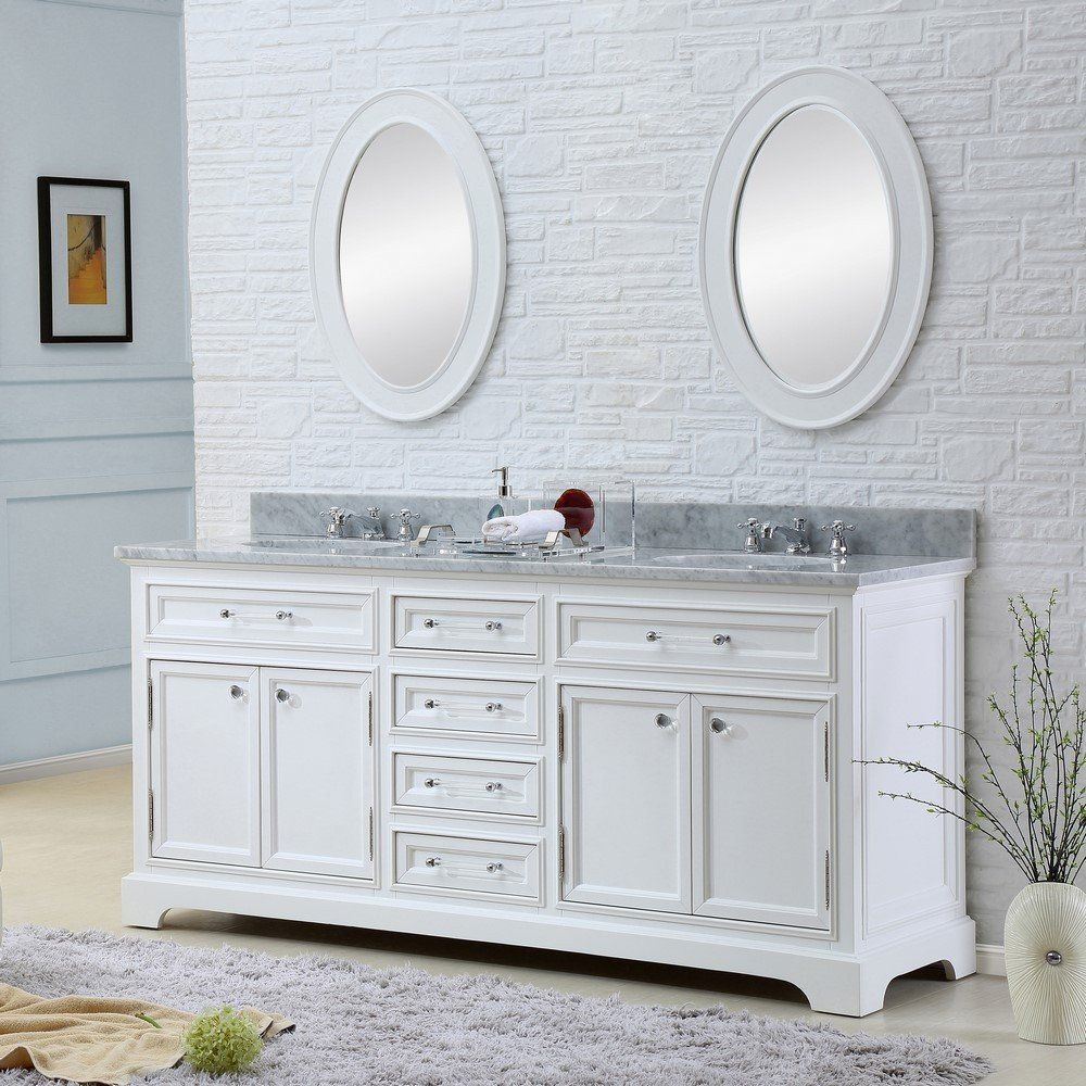 """Derby 72"""" Solid White Double Sink Bathroom Vanity Only"""