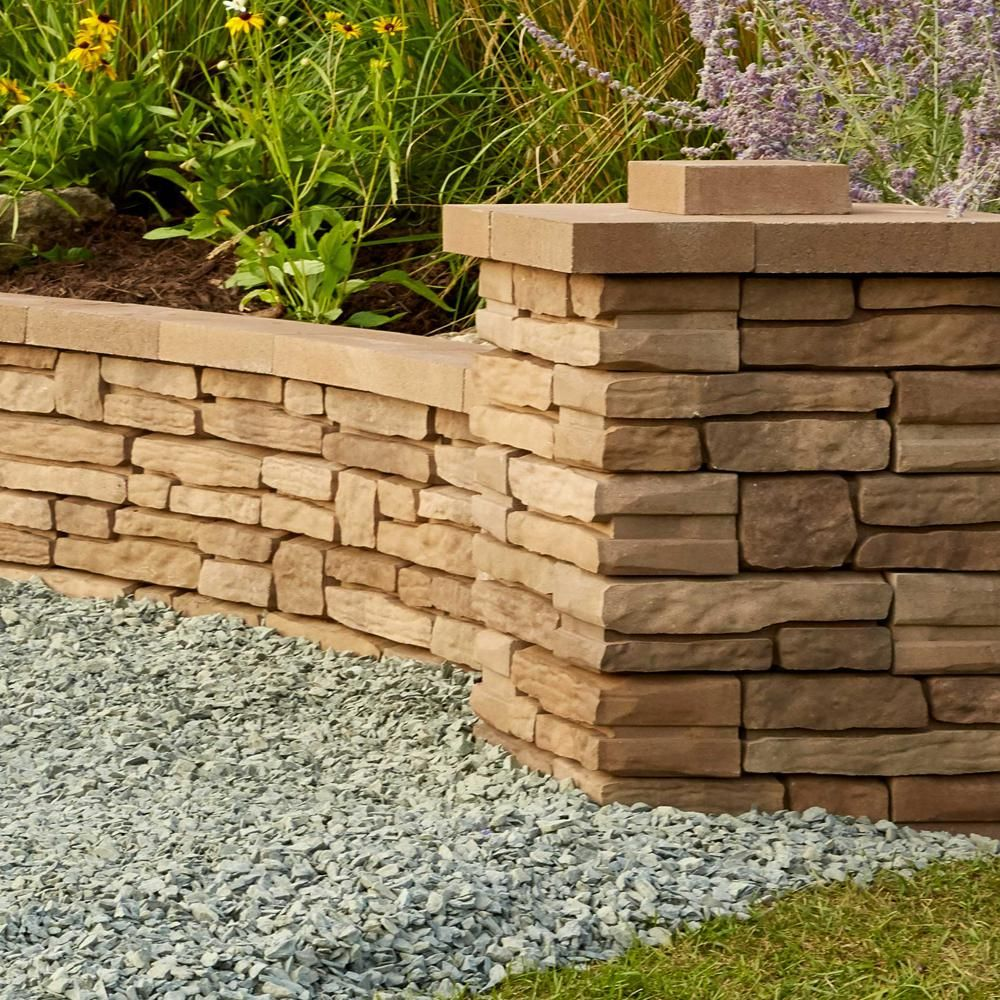 Oldcastle Natural Impressions 4 In X 12 In X 5 75 In Sandstone Concrete Quarry Wall Block 1 Landscaping Retaining Walls Cinder Block Garden Wall Garden Wall