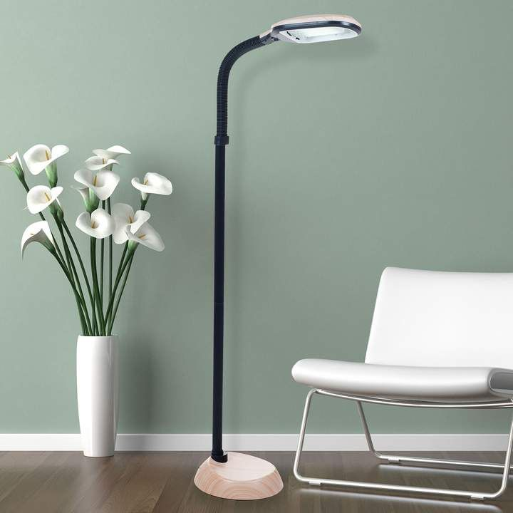 Portsmouth Home Sunlight Faux Wood Finish Floor Lamp Black Floor Lamp Adjustable Floor Lamp Silver Floor Lamp