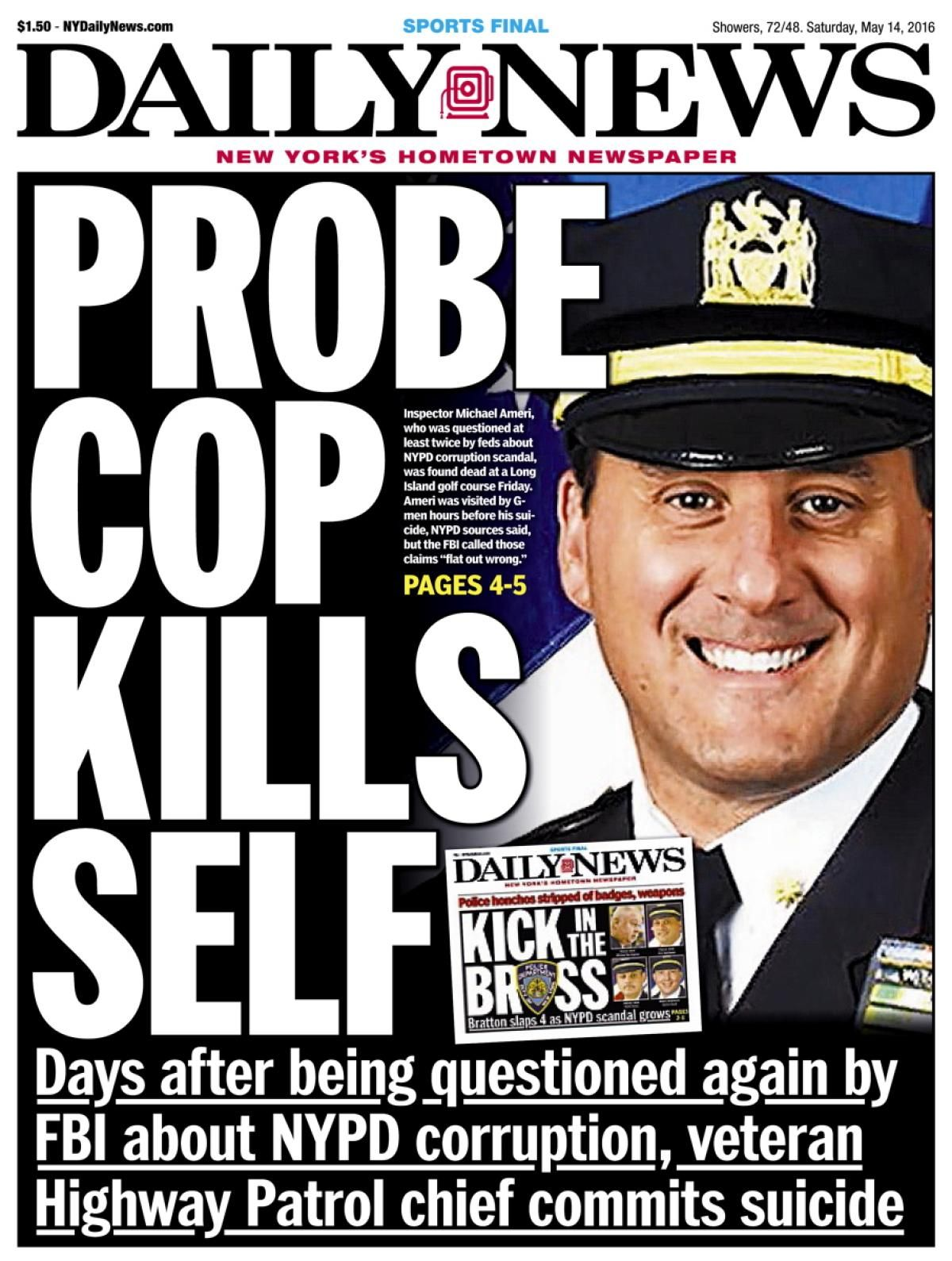 May 14, 2016: NYPD Inspector Michael Ameri shoots himself in the head in a departmental car near the Bergen Point Golf Course in West Babylon, L.I. Ameri had recently been questioned twice by the FBI during its investigation of an NYPD scandal involving two businessmen, Jeremy Reichberg and Jona Rechnitz, with ties to Mayor de Blasio.