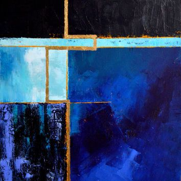 Original Abstract Painting Abstract Architectural Art Blue Black Purple Gold Art Geometric P Blue Abstract Painting Geometric Painting Original Abstract Art