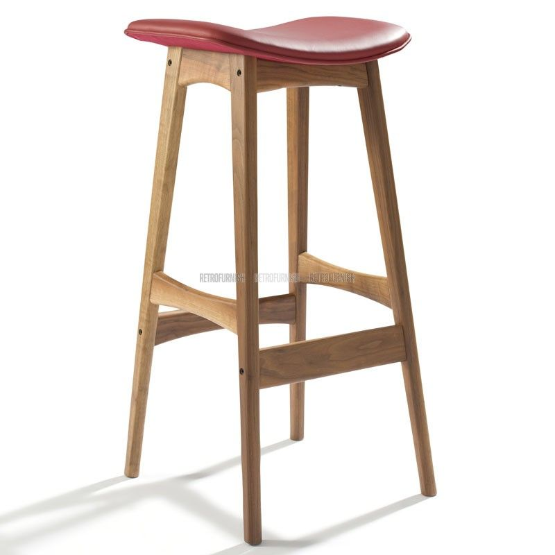 Scandinavian Design Bar Stool Made Of Masive Wood And Refined Upholstery Leather Chose Your Desired Wood And Leathe Bar Stools Fusion Furniture Counter Stools