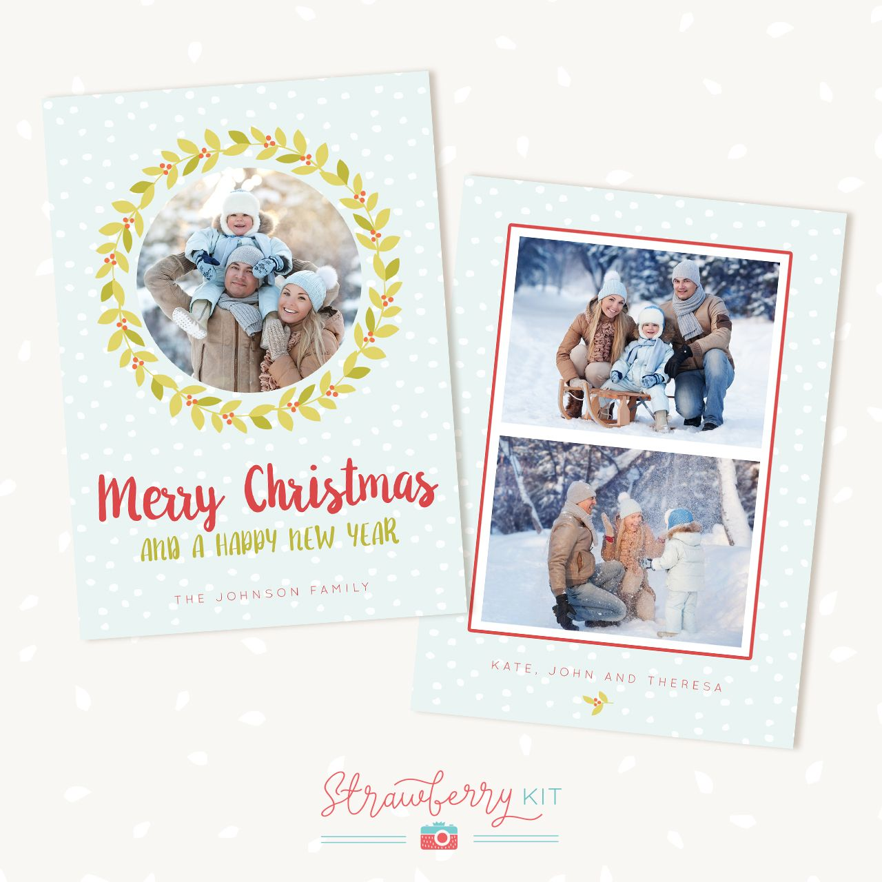 """Photo of Holiday card template """"Modern Wreath"""" – Strawberry Kit"""