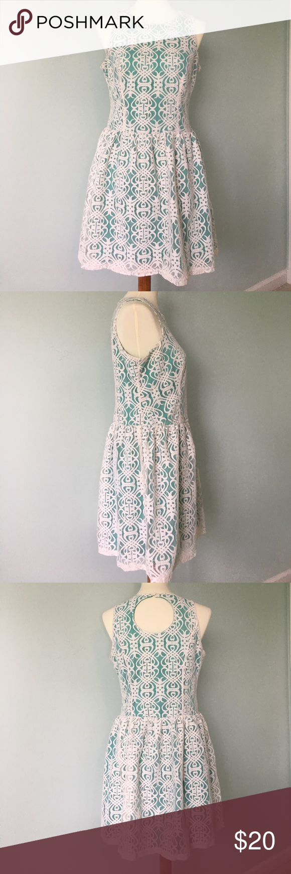 Green dress with lace overlay  Pinky Green u Lace Dress Size L  Green lace dresses Green lace and