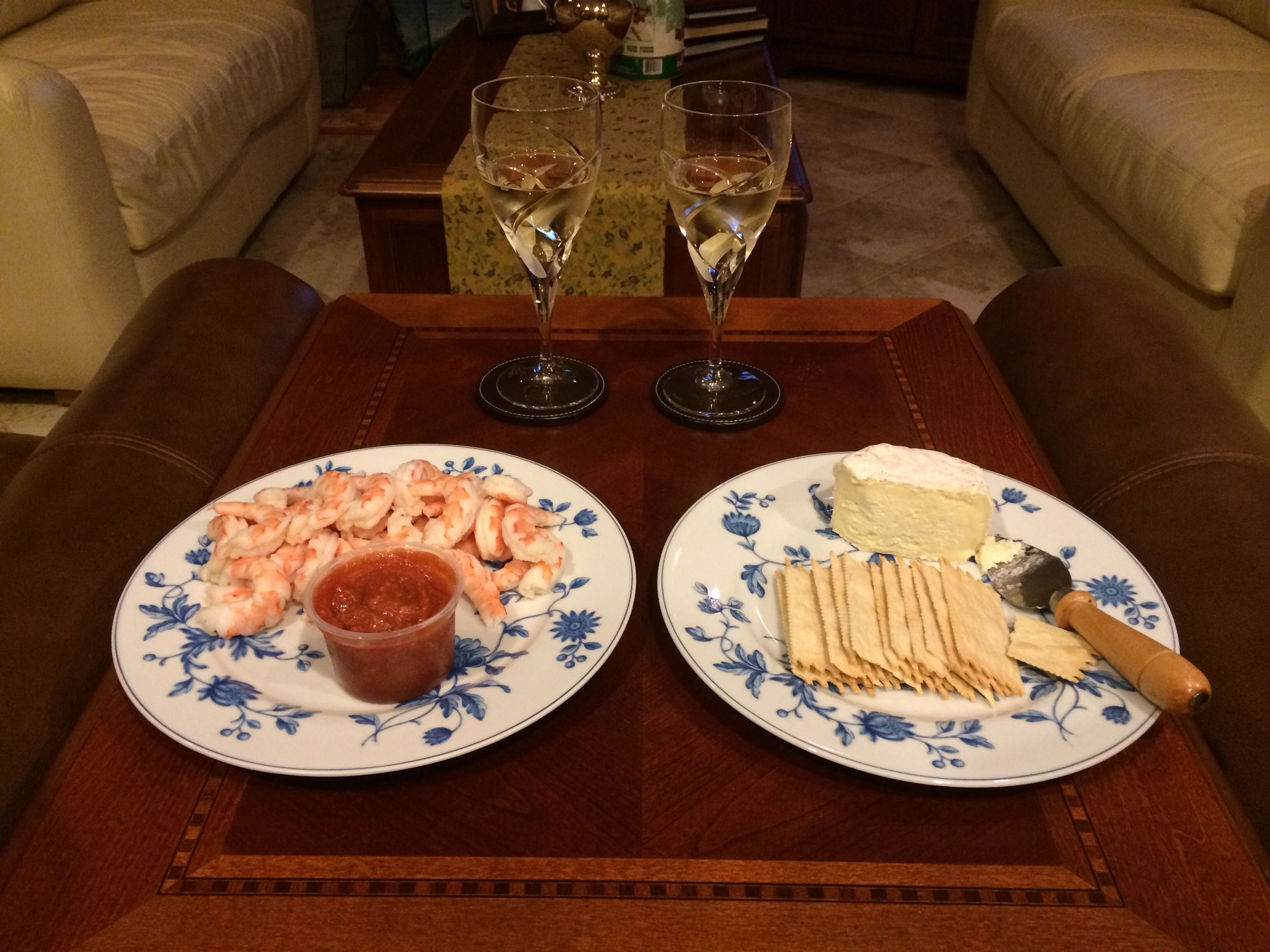 Sometimes dinner is shrimp cocktail with spicy cocktail sauce, Cowgirl Creamery triple cream cheese, crackers, and Bonterra Chardonnay. Simple and yummy!