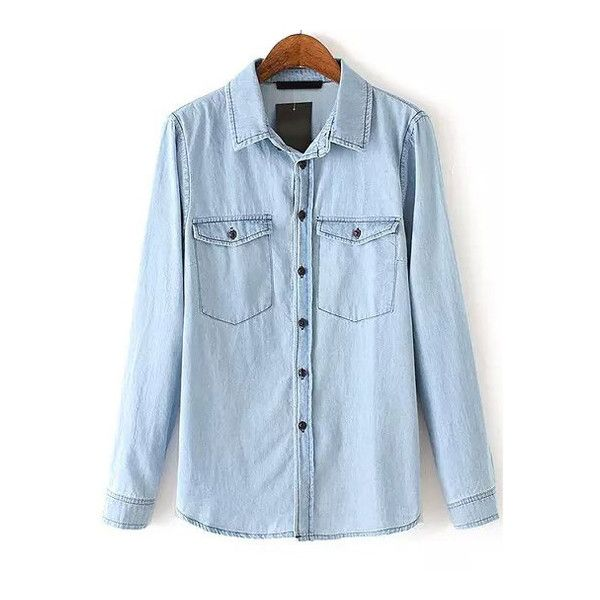 Blue Lapel Pockets Casual Denim Blouse (€21) ❤ liked on Polyvore featuring tops, blouses, shirts, denim blouse, blue denim blouse, blue blouse, lapel shirt and pocket shirt