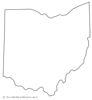 Ohio Map Outline Printable State Shape Stencil Pattern Ohio Map Ohio Outline Printable Patterns