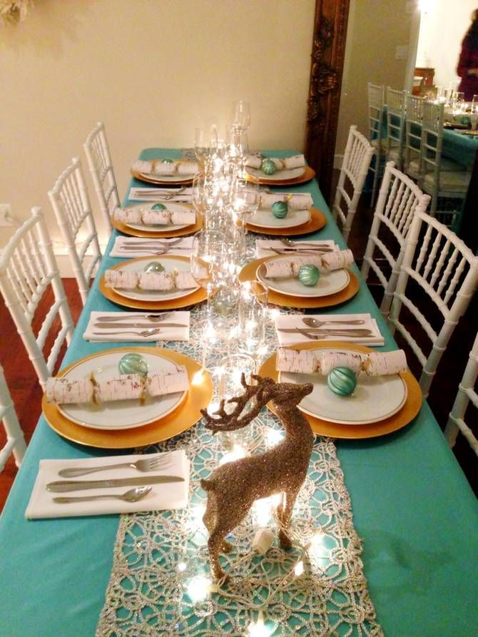 Beautiful Tiffany Blue And Gold Party Table Decor Elegant Yet Warm Christmas Table Decorations Gold Christmas Decorations Blue Christmas