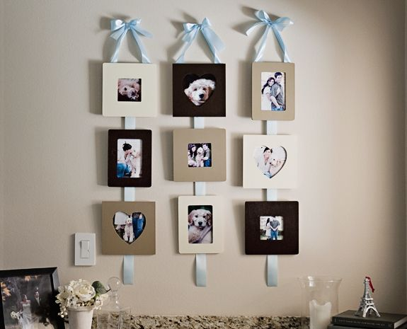 Don T Leave Your Pictures On A Cd Or In Computer Make These Pretty Functional Ribbon Hanging Frames Display Them Wall