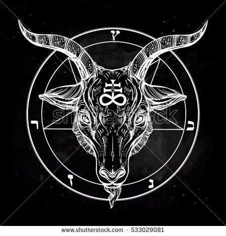 Pentagram With Demon Baphomet Satanic Goat Head Binary Satanic