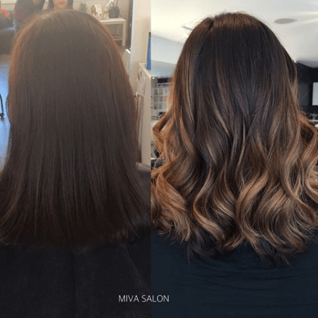 Before And After Getting Partial Highlights Dark Hair With Highlights Hair Highlights Partial Balayage Brunettes