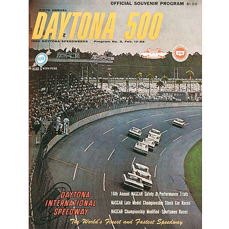 "Fanatics Authentic 6th Annual 1964 Daytona 500 Canvas 36"" x 48"" Program Print - $159.99"