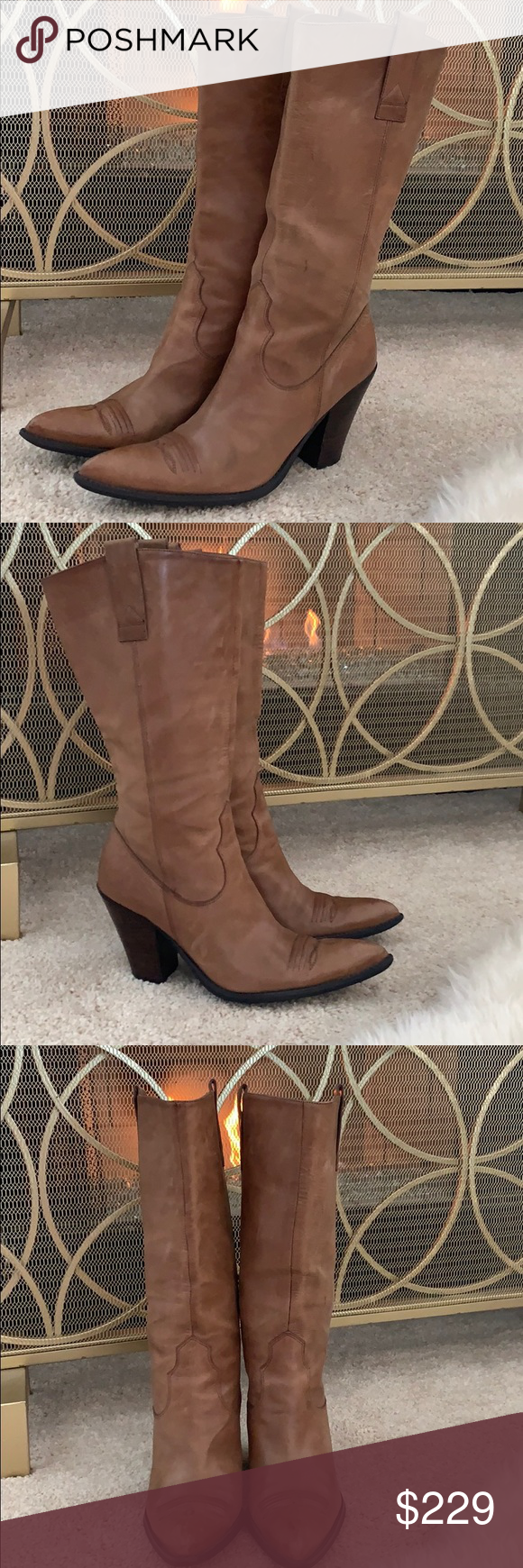 Guess by Marciano Leather Cowboy Boots Beautiful Leather