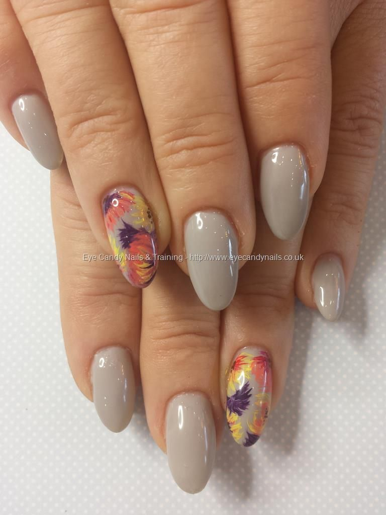 Grey Gel Polish Over Gel Nails With Freehand Flower Nail Art Nails