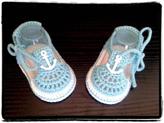 Crochet baby boys summer sandals,Crochet blue and white sandals ...