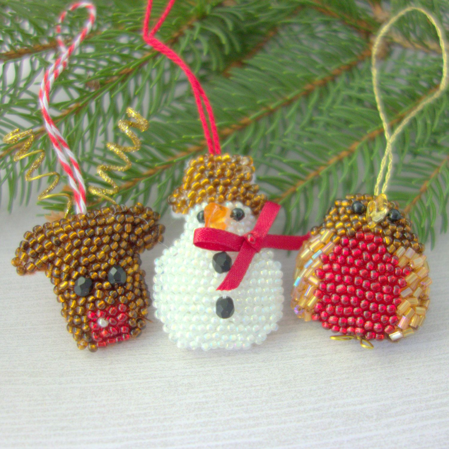 New baby ornaments - Cute Ornament Collection Snowman Robin Reindeer Trio Of Beaded Holiday Ornaments For The Tree New Baby