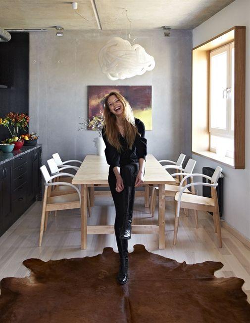 Ikea Dark Brown Cowhide Rug Pale Wood Floors Furniture Black Kitchen