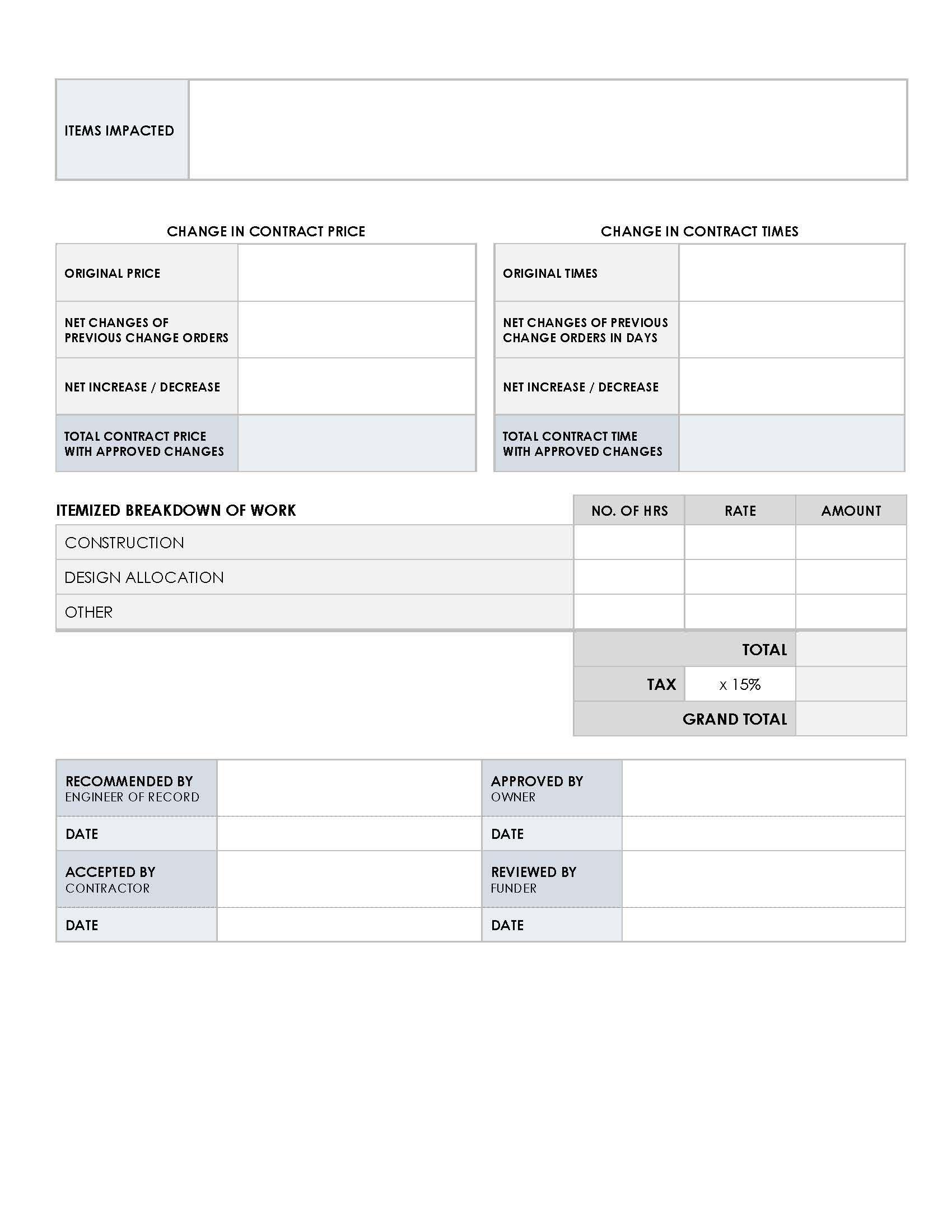 Engineering Change Order Template Free Download Project Management Templates Templates Templates Free Download