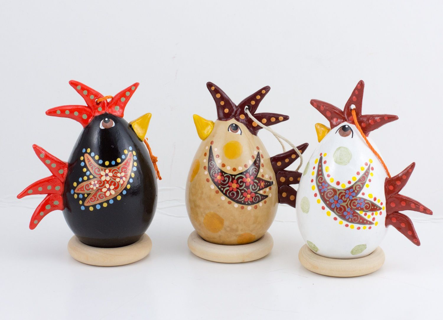 Chicken Ornament Set of 3 - Black Chicken, White Chicken, Tan ...