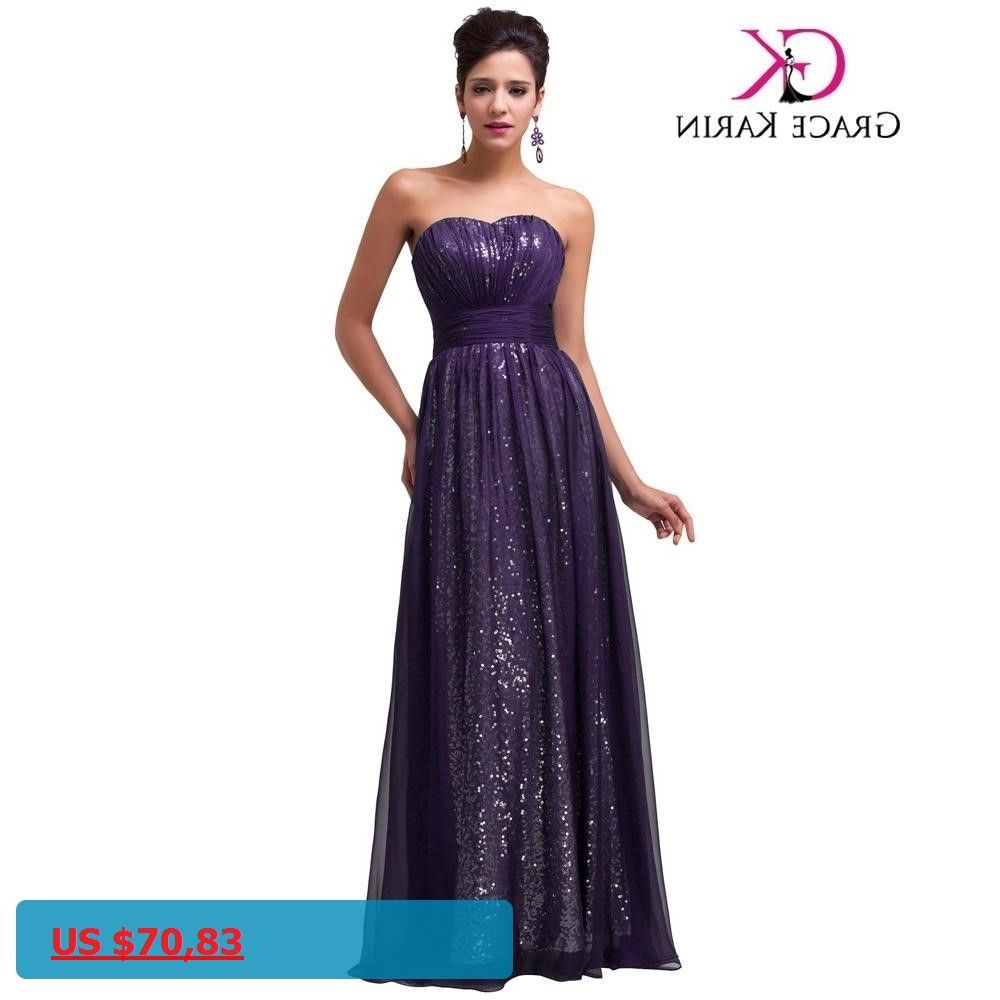 fa3725b81 Elegant Sequins Evening Dresses Grace Karin 30D Chiffon Strapless Floor  Length Long Purple Green Navy Blue. PúrpuraAzul MarinoLentejuelasVestidos De  ...