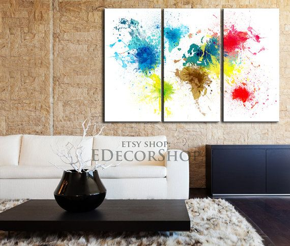 Watercolor world map 3 set canvas print ready to hang colorful watercolor world map 3 set canvas print ready to hang colorful abstract world map gumiabroncs Image collections