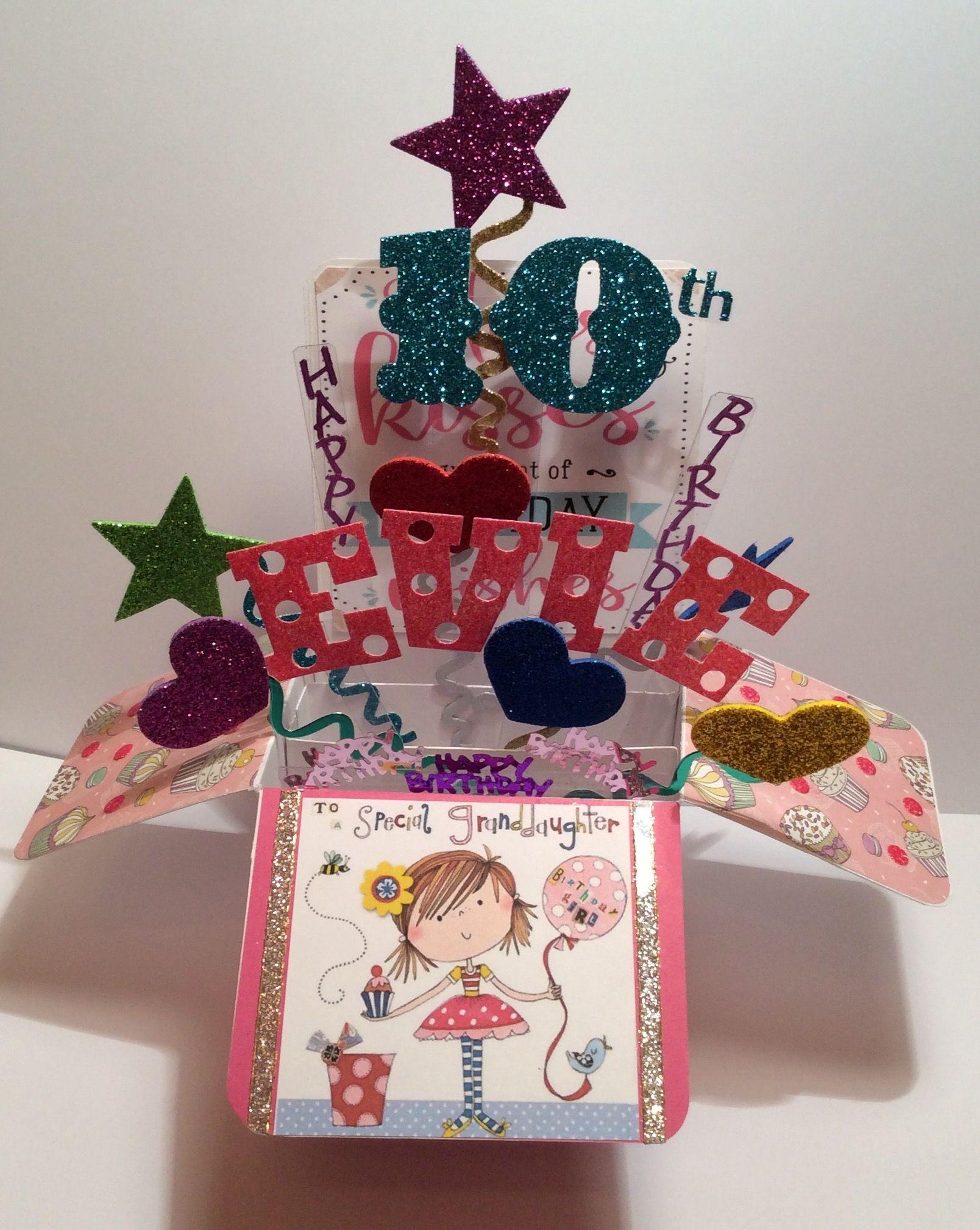 pop up box card  birthday girl 10 years  girl birthday