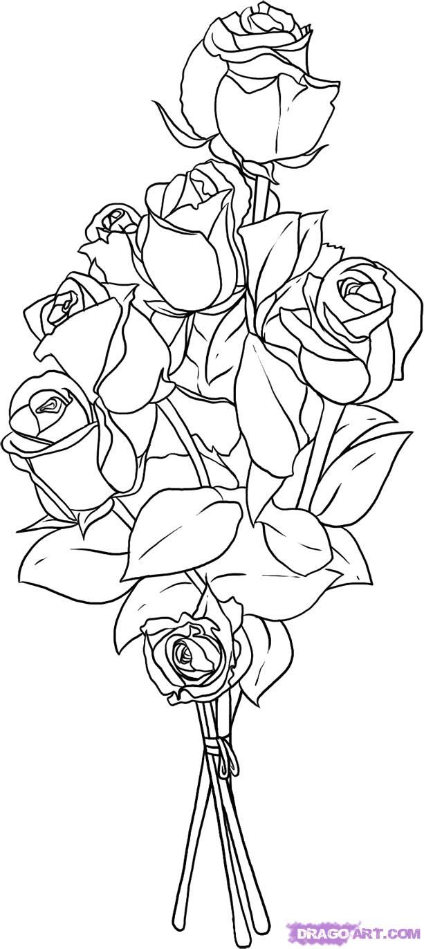 Pin by Sharon Holmbeck on FLOWERS | Flower bouquet drawing, Flower sketches, Bunch of flowers ...
