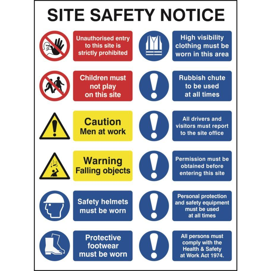 Construction site safety sign with 2 prohibition 2 warning 8 construction site safety sign with 2 prohibition 2 warning biocorpaavc