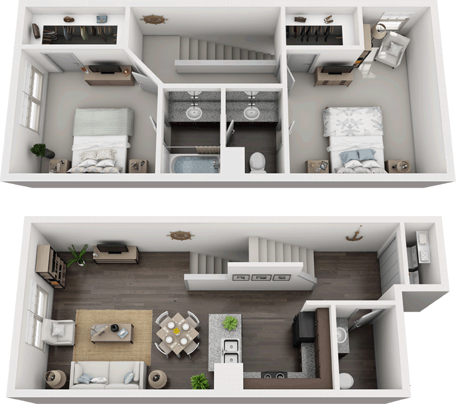 B3 - Two Bedroom / Two Bath - 1,131 Sq. Ft.*