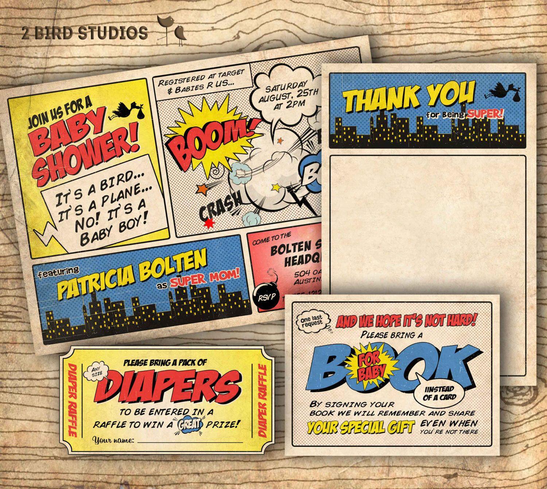 Superhero baby shower invitation - superhero invitation - Coed baby ...