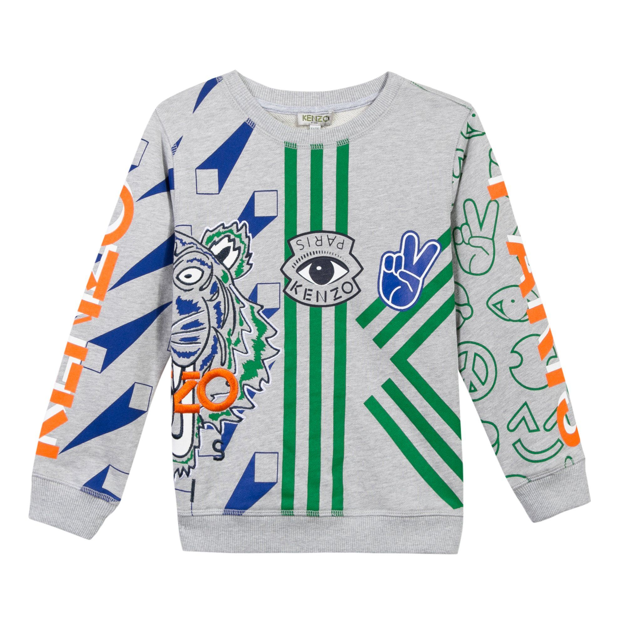34e7afd11a402 Long sleeve sweatshirt with Tiger Friends and Logos printed and embroidered  on front and back. Tiger head and KENZO Paris logo, embroidered over the  pint.