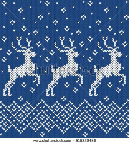 Norwegian Sweater Deer Seamless Knitting Pattern