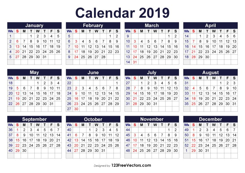 Calendrier Geo 2019.Printable 2019 Calendar With Week Numbers Calendar With