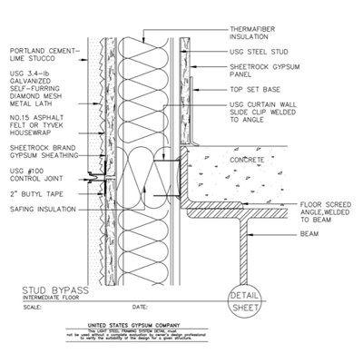 09 21 16 63 162 Light Steel Framin Intermediate Floor Stud Bypass Steel Architecture Stucco Walls Housewrap