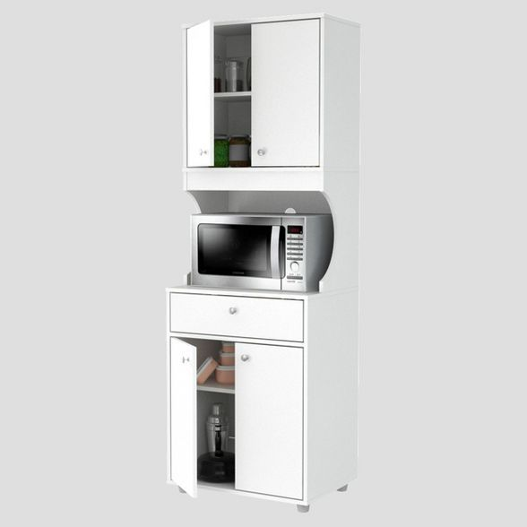1 drawer kitchen microwave storage cabinet with open space white inval in 2020 microwave on kitchen organization microwave id=57986