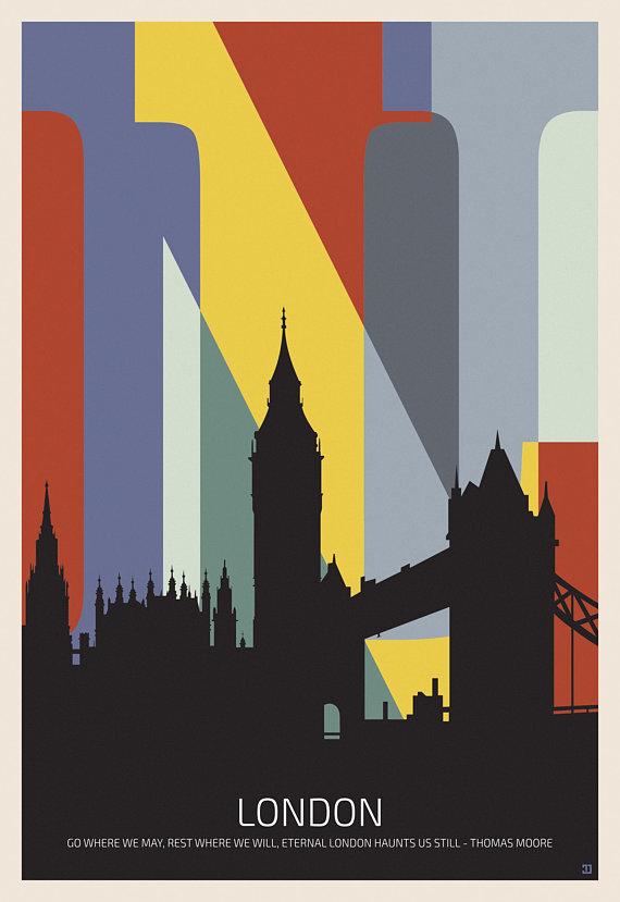 London Poster Colorful Typography Wall Art London Travel Etsy In 2021 London Travel Poster London Poster Digital Art Design