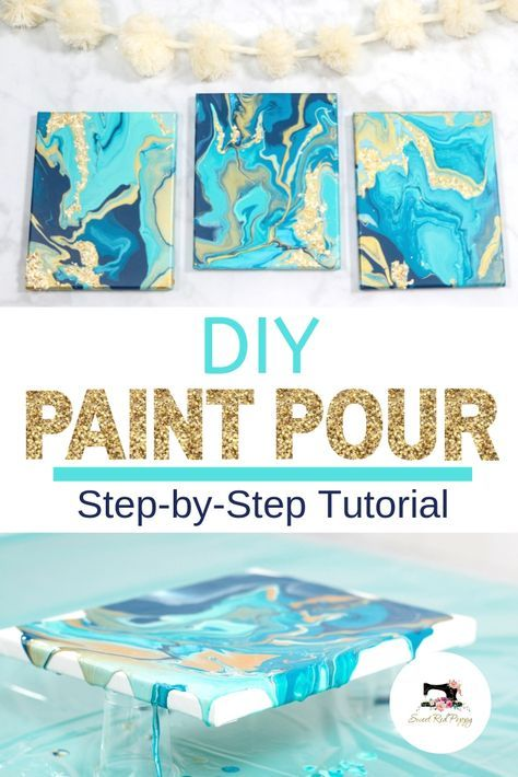 Learn How to Create a Stunning Paint Pour Canvas the Easy Way in This Step-By-Step Photo and Video Tutorial Using Supplies from Joann. #handmadewithjoann This pin was created in partnership with Joann.  Sweetredpoppy.com/diy-paint-pour-canvas-with-joann