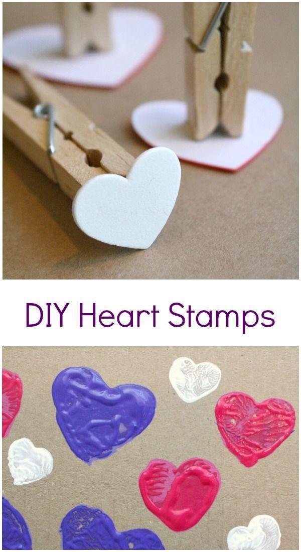Diy Heart Stamp Art Valentine S Day Crafts For Kids Valentine